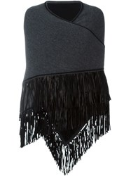 Antonia Zander Fringed Cape Cardigan Grey