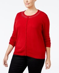 Karen Scott Plus Size Embellished Cardigan Only At Macy's Red Cherry
