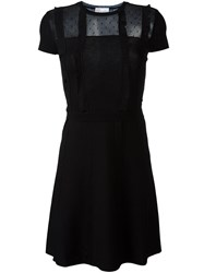 Red Valentino Sheer Chest Ribbed Dress Black