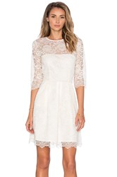 Ganni 3 4 Sleeve Lace Mini Dress Ivory