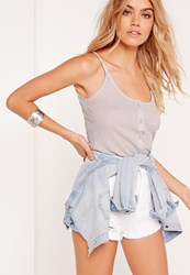 Missguided Button Front Cami Grey Marl Grey