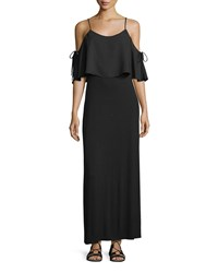 Casual Couture Layered Cold Shoulder Maxi Dress Black