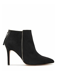 Reiss Breton Piped Pointed Toe High Heel Booties Black