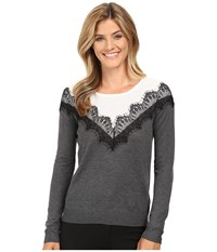 Vince Camuto Long Sleeve Yoke V Lace Color Blocked Sweater Medium Heather Grey Women's Sweater Gray