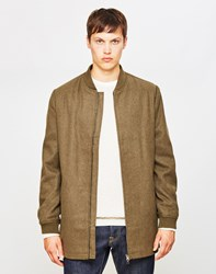 The Idle Man Long Line Wool Bomber Jacket Green