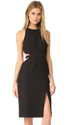 Halston Round Neck Cutout Dress Black
