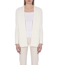 Reiss Sasha Scalloped Edge Cardigan Champagne
