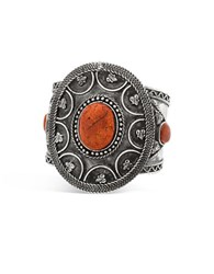 Steve Madden Stone Textured Cocktail Ring Orange