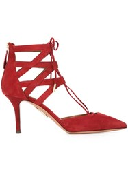 Aquazzura Strapped Lace Up Pumps Red