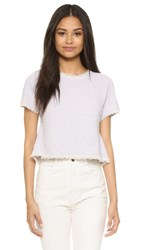 Rebecca Taylor Short Sleeve Tweed Top Lilac