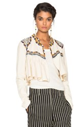 Isabel Marant Sabriel Embroidered Cotton Twill Jacket In White Neutrals
