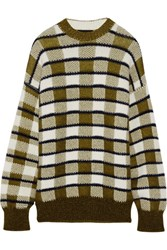 Joseph Oversized Checked Chunky Knit Sweater Army Green
