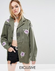 Reclaimed Vintage Military Jacket With All Over Patches Khaki Green