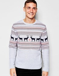 Asos Christmas Jumper With Stags And Cable Design Blue