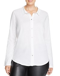 Eileen Fisher Plus Linen Knit Button Down Shirt White