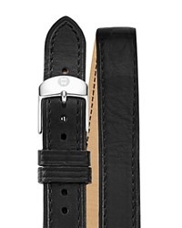Michele Black Double Wrap Leather Watch Strap 16Mm