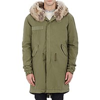 Mr And Mrs Italy Men's Fur Lined Canvas Long Parka Green