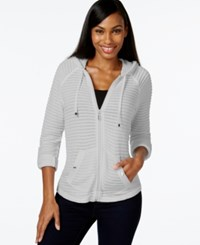 Styleandco. Style And Co. Petite Illusion Stripe Zipper Front Hoodie Only At Macy's Light Grey