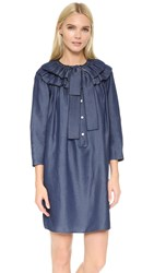 Marc Jacobs Button Up Dress With Tie Blue