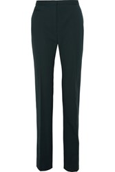 Lanvin Stretch Wool Straight Leg Pants Forest Green