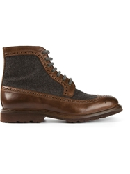 Brunello Cucinelli Contrasting Panel Brogue Boots Brown