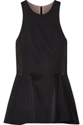 Jason Wu Lace Paneled Satin Crepe Peplum Top Black