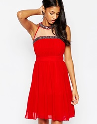 Little Mistress Skater Dress With Beaded Halterneck Red