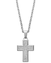 Macy's Men's Diamond Cross Pendant Necklace In Stainless Steel 1 3 Ct. T.W.