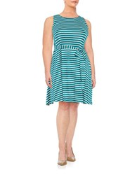 Lord And Taylor Plus Striped Knit Dress Sweet Teal