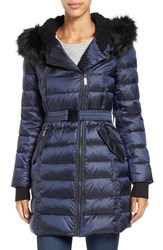 French Connection Women's Quilted Coat With Faux Fur Trim Hood Utility Blue