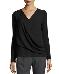 Tahari By Arthur S. Levine Jersey Chiffon Overlay Long Sleeve Top Black