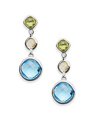 Effy Peridot Lemon Quartz Blue Topaz And 14K White Gold Drop Earrings