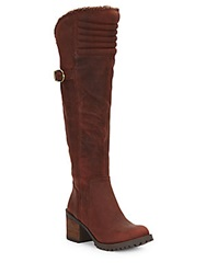 Lucky Brand Narlee Faux Fur And Leather Over The Knee Boots Bourbon