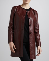 Neiman Marcus Basic Long Leather Jacket Medium 8 10