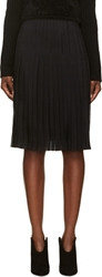 Givenchy Black Silk Chiffon Pleated Skirt