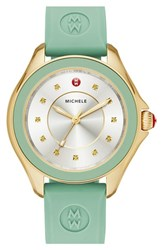 Women's Michele 'Cape' Topaz Dial Silicone Strap Watch 40Mm Mint Gold