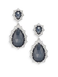 Judith Ripka Bright Nite Blue Quartz And Hematite Doublet White Sapphire And Sterling Silver Drop Earrings