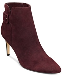 Marc Fisher Tailynn Booties Women's Shoes Dark Red Suede