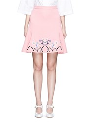 Peter Pilotto Tribal Embroidery Cady Crepe Virgin Wool Skirt Pink