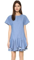 Viva Aviva Front Ruffle Swing Dress Chambray