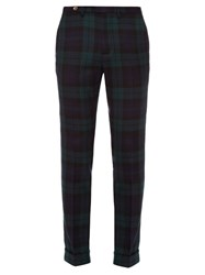 Gucci Check Print Wool Trousers Navy Multi