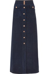 See By Chloe Corduroy Maxi Skirt Midnight Blue
