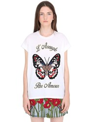 Gucci Butterfly Embroidered Jersey T Shirt