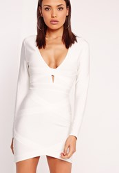 Missguided Premium Long Sleeve Bandage Bodycon Dress White White