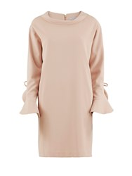 Gina Bacconi Stretch Moss Crepe Dress Ruffled Sleeve Pink