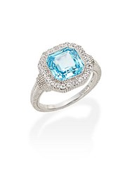 Judith Ripka Legacy Sky Blue Crystal White Sapphire And Sterling Silver Ring