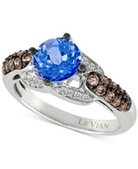 Le Vian Chocolatier Blue Topaz 1 1 5 Ct. T.W. And Diamond 2 5 Ct. T.W. Ring In 14K White Gold