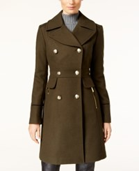Vince Camuto Double Breasted Military Coat Olive