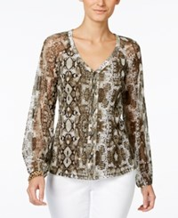 Inc International Concepts Snakeskin Print Peasant Blouse Only At Macy's