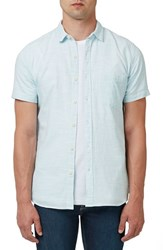 Topman Men's Trim Fit Micro Stripe Short Sleeve Woven Shirt Light Blue